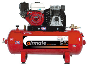 SIP04451 – Airmate Industrial Super Compressor – ISHP5.5/150ES. 150 Ltr. (Honda Petrol Engine) Electric Start.