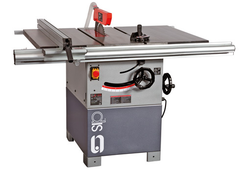 SIP 01446 12″ Cast iron Table Saw 100mm Depth of Cut (shown with optional sliding table and rear extension table)